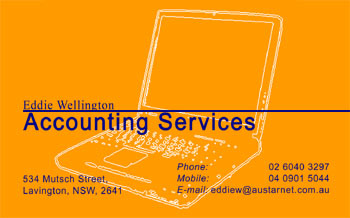Eddie Wellington Accounting Services' Business Card